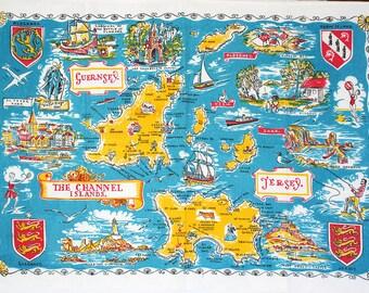 Vintage kitchen towel from Channel Islands. Souvenir towel, mid century, cotton, map, aqua, turquoise, yellow, white, text, crests.