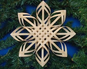 christmas tree topper, star tree topper, swedish star, snowflake basket, white ash woven star, st. patricks day, woven basket, irish decor