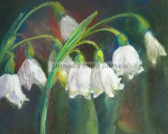 """snowdrops giclee print of original pastel painting 5"""" x 7"""""""