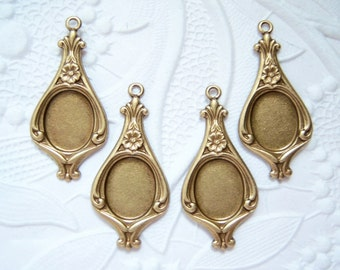 Antique brass earring pendant setting for 10x8mm cab, lot of (4) -  RF132
