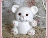 Vintage Piggy Bank Enesco Collectible Bank Coin Bank Enesco Figurine Teddy Bear Figurine Ceramic Bank Money Bank Toy Bank Animal Bank White