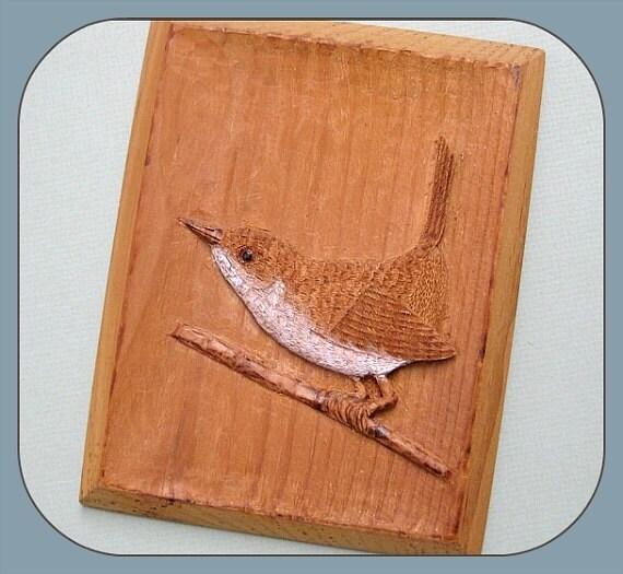 Wooden Birdhouse Wall Decor : Hand carved wood bird decor wall