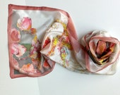 Silk shawl hand painted - pink and red flowers on ponge silk, silk scarf for grooms mother, weddings gift for bride