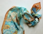 decorative motifs of shells blue background with green highlights scarf-hand painted silk scarves collection-long scarf  -decorative