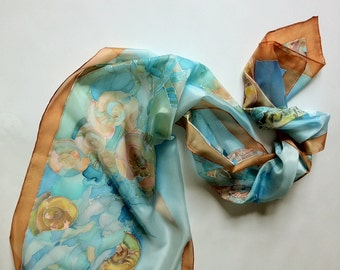 Silk scarf hand painted for women -  sea motives scarf - beach style scarf-hand painted silk scarves collection-long scarf  -decorative