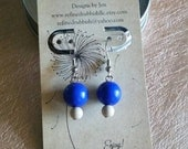 Bright Bold Royal Blue and Neutral Beige Earrings