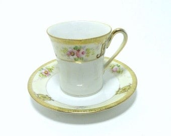 Vintage Porcelain Demitasse Teacup Set Pink Flowers on Cream with Gilded Gold//Vintage Noritake China Cup and Saucer