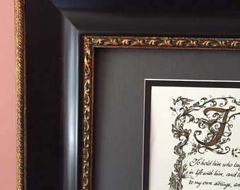 Hippocratic Oath/Calligraphy/Gift for MD/Paper only/Gold/Black/Doctor/Physician/Print of Hand Done Original/11x17