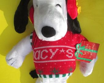 Peanuts, Snoopy, Christmas, Macy's, 20-Inch Plush, Vintage, Original Tag, Mint