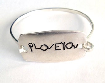 Your Child's Message  Silver Handwriting Bracelet  -  Large Sized Silver Curved rectangle Tension Bracelet