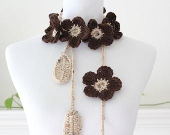 Crochet Brown, Buff Fleck Scarf, Scarflette, Necklace
