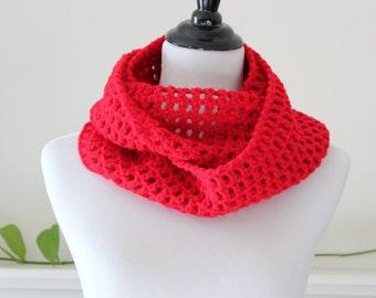 Crocheted Red Neckwarmer Cowl