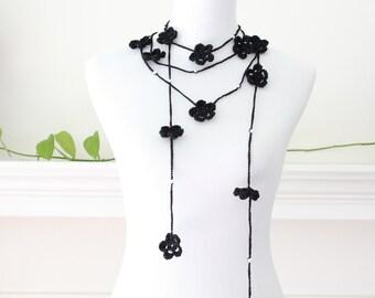 Crocheted Black Flower Lariat, Necklace, Scarf, Scarflette