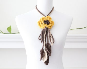 Crocheted Dak yellow Taupe  Lariat Scarf, Necklace, Scarflette