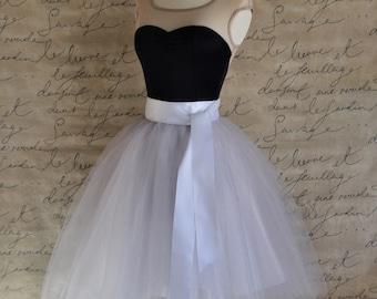 Palest grey tulle tutu skirt for women with white satin lining- tea length, classic retro skirt.
