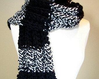 Big Knit Black Ribbed Scarf, Chunky Knit Rib Knit Striped Scarf, Long Black and White Knit Scarf, Warm Knit Scarf Men Women, Long Knit Scarf