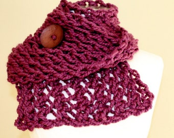 Chunky Knit Button Scarf, Chunky Knit Purple Scarf, Knit Scarf Button Scarf, Knit Neckwarmer Plum, Hand Knit Button Scarf Fig, Big Knit