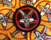 BUGS as BAPHOMET -  BLACK embroidered Iron-On patch - Free ShiPPing! Mike Diana art