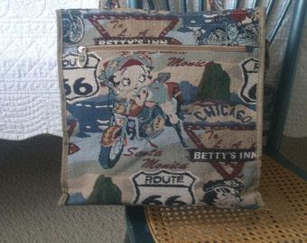 Betty Boop Biker Babe Theme Canvas Shopper Tote Bag Purse