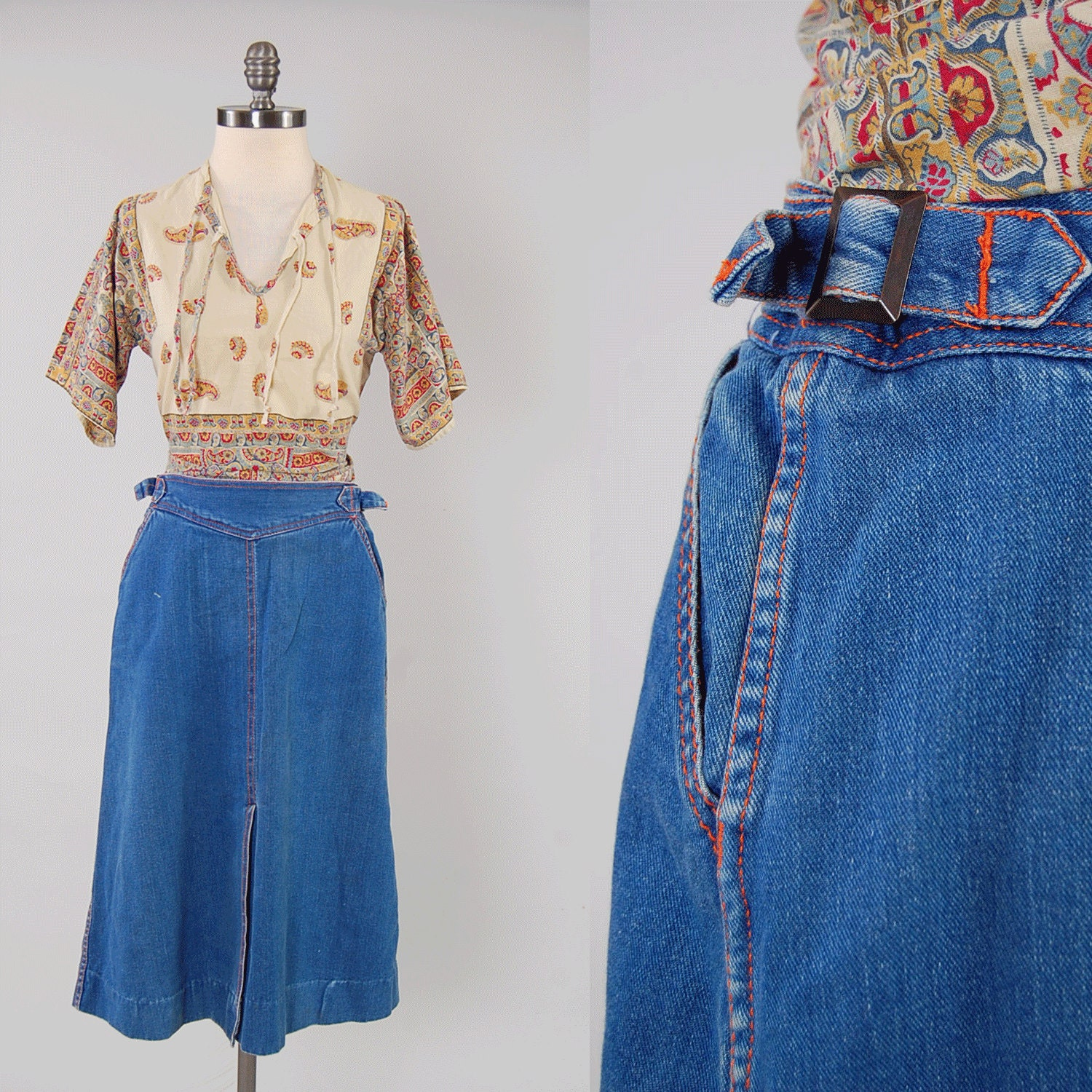 vintage 70s perfectly faded denim skirt by