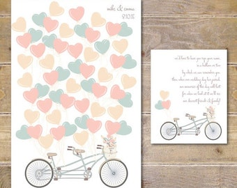 Wedding Guestbook, Unique Guestbook, Guestbook Print, Hanging Guestbook, Alternative Guestbook, Balloon Guestbook, Bicycle - Vintage Bicycle