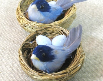 Bird in Nest , Blue Bird in Nest , Set of 6 , Tree Ornament , Christmas Ornament , Holiday Decor , Craft Supplies , Art Supply , Supplies