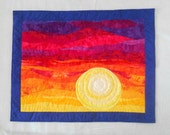 Handmade Quilted Art Wall Hanging - Sunset Colors of Blue, Red, Orange and Yellow - Sunset Quilt  or Mountains Quilt