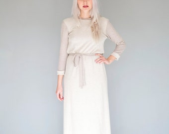 Beige / Taupe french terry maxi dress / Long Tee shirt - 25% Off - On sale