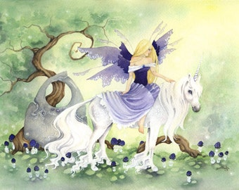 Unicorn Art Watercolor Print - Her Unicorn - fantasy. fairy. whimsical. purple. fairy tale. innocence. for her.