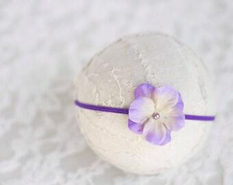 Violet Flower Headband. Silk Flower. Pearl. Yellow. Skinny Elastic. Girl. Baby. Photopraphy Prop. Newborn. Tolola Designs.