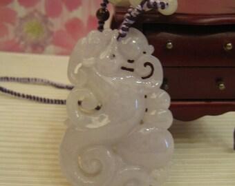 Jade Ruyi Dragon ..  Pendant / Necklace  ..  Natural Jade Handknotting Jewelry