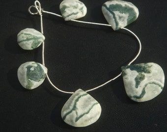 Solar Quartz Faceted Heart Semiprecious Gemstone Beads (Quality A) / 6 Pieces / CODE 1015