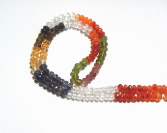 Multi Faceted Roundel Semi Precious Gemstone Beads (A) / 125 Pieces / CODE 20