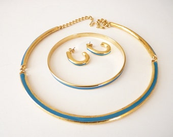 Vintage Choker Necklace , Bangle Bracelet and  Earrings Set in Gold with  Blue Enamel