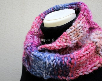 Knitted Neckwarmer in Pink/Blue -Scarf - Handmade by T. Catana - Made to Order: 3-4 business days.