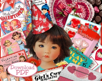 Little Darlings VALENTINES PDF for 10 to 14 inch Dolls 28 pages Vintage Fun Stuff to make 4 Effner LDs Ann Estelle Patsy Craft Print OutPDF