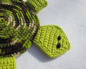 Turtle Hot Pad Crocheted Turtle Pot Holder in Greens and Browns
