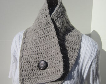 Neckwarmer, Button Neck Scarf, Unisex Oatmeal Heather  Neck Scarf, Winter Wear for Men or Women, Gift for Adult, Business Coat Accessory