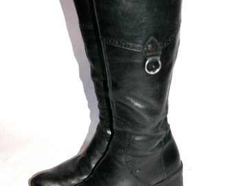 Sweet Vintage Riding Boots with Stacked Rubber Heel- Size 9/9.5 US
