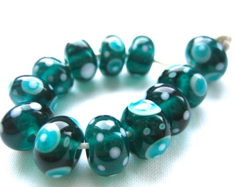 Tealy Nice, Teal Green and White Lampwork Beads, FHF, SRA, UK Seller