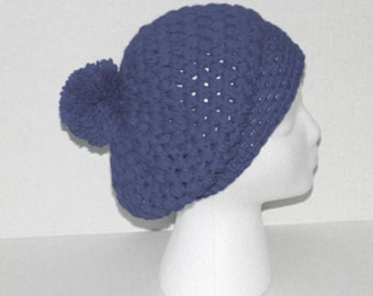 Custom Crochet Beanie Tam Hat with Pom Pom, Pouff Hat, Winter Hat