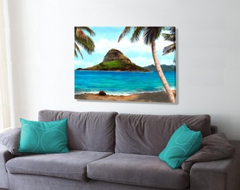 Chinaman's Hat Oahu, An oil style painting original giclee print on canvas,