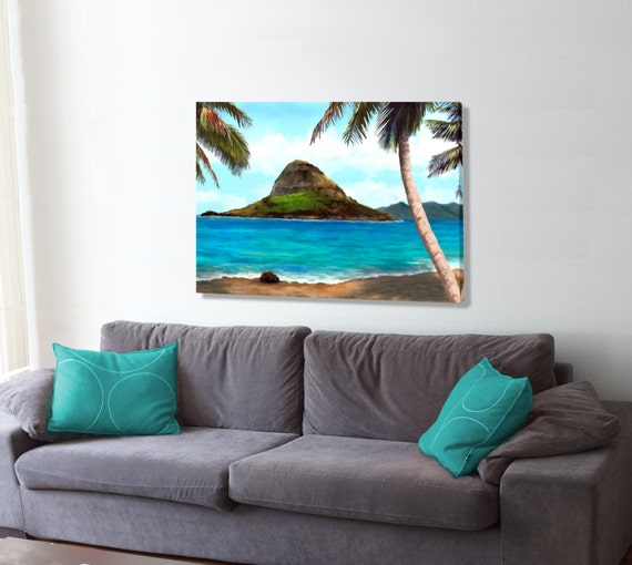 Chinamans Hat Hawaii: Chinaman's Hat Oahu An Oil Style Painting Original Giclee