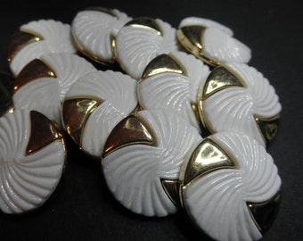 12 White and Gold Plastic Buttons -2 part Snap Together - Swirl   1 inch