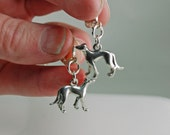 Walking Greyhound 3D Sterling Silver Leverback Earrings