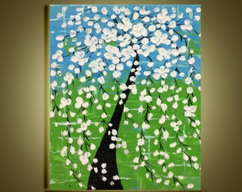 "Abstract art Original white cherry blossom Tree Oil Painting Impasto Palette Knife fine thick textured Ready to Hang by Qujun 16""x20"""