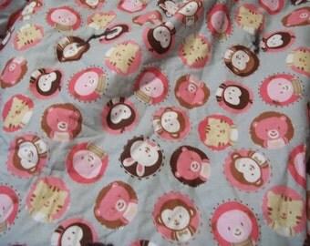 Handmade Baby Crib Quilt with Ruffle, Cute Animal Print
