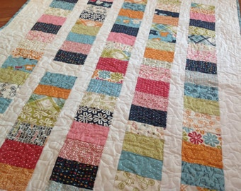 Lucy's Crab Shack Coins Baby Crib quilt -- pink, blue, green, orange, white, aqua, navy, nautical