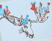 Happy Birthday Letterpress card - Birthday Moose