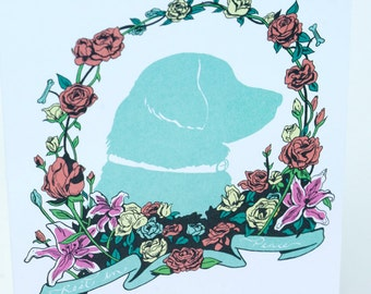 SALE - Pet Dog Sympathy greeting card - Canine Wreath - 50% off